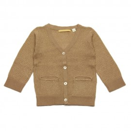 Cardigan with V neck Gold taupe gold glow