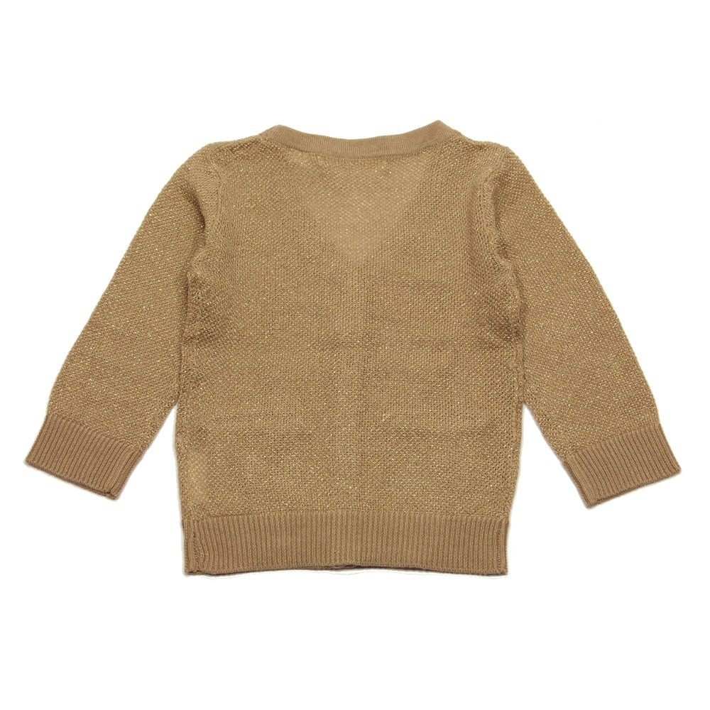GOLD Cardigan V-neck girl taupe with a gold glow