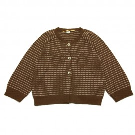 GOLD Cardigan round neck girl chocolate brown