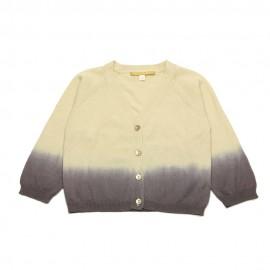 GOLD Cardigan V-neck girl tie dye beige / aubergine
