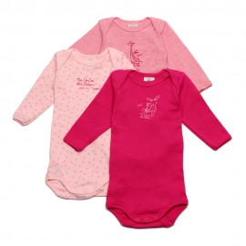 PETIT BATEAU Pack of 3 long sleeves romper pink