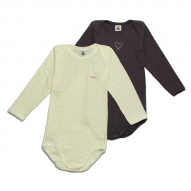 PETIT BATEAU Pack of 2 long sleeves rompers off-white and purple
