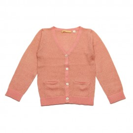 GOLD Cardigan V-neck girl old pink with a gold glow