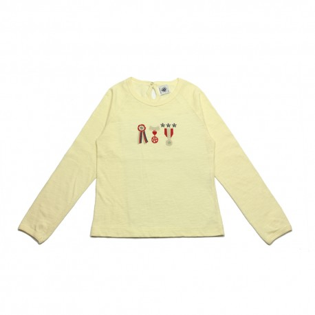 PETIT BATEAU T-shirt long sleeves coquil off- white