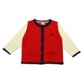 PETIT BATEAU Cardigan round neck girl red / offwhite / dark blue