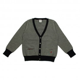 PETIT BATEAU Cardigan V-neck girl blue and white stripes