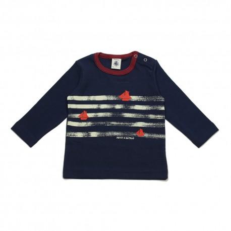 PETIT BATEAU T-shirt long sleeves logo bleu