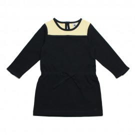 PETIT BATEAU Dress long-sleeved round neck girl dark blue