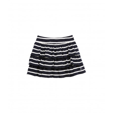 PETIT BATEAU Ruffle skirt striped blue white