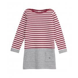 PETIT BATEAU Dress long-sleeved girl light grey and bordeaux red / white stripes