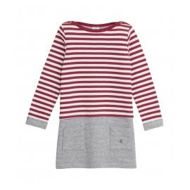 PETIT BATEAU Dress tubic striped red grey
