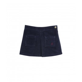 PETIT BATEAU Skirt stretch corduroy girl dark blue