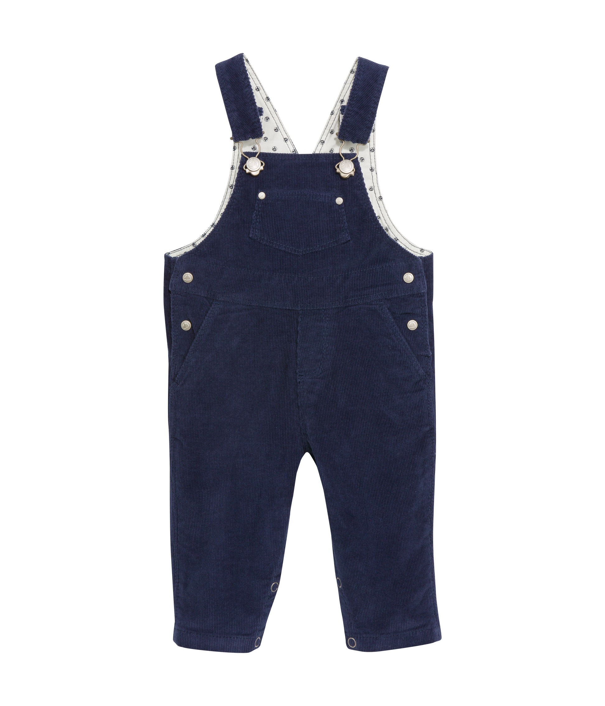 a1e8c8aef3ed PETIT BATEAU Dungarees in stretch corduroy dark blue for boy and girl
