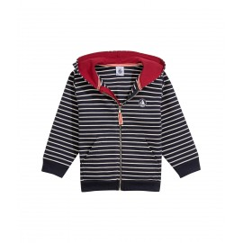 PETIT BATEAU Pullover hooded and zippered boy dark blue and offwhite stripes