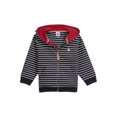 PETIT BATEAU Pullover hooded striped blue white