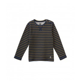 PETIT BATEAU T-shirt reversible long-sleeved boy dark blue and chocolate brown stripes