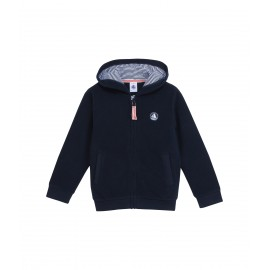 PETIT BATEAU Pullover fleece zippered boy dark blue