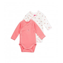 PETIT BATEAU 2 pack of bodies long sleeves floral pink