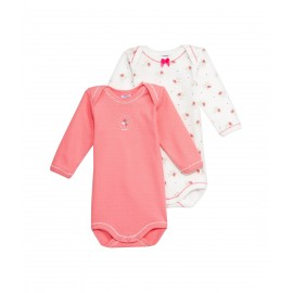 PETIT BATEAU Pack of 2 long sleeves rompers floral pink