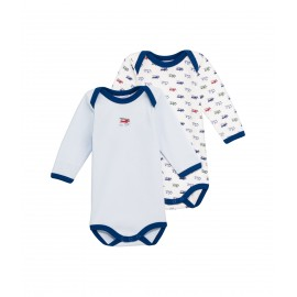 PETIT BATEAU Pack of 2 long-sleeved envelope neck bodysuits baby boy blue