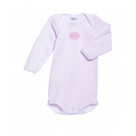 PETIT BATEAU Romper long sleeves milleraies stripes pink