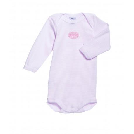 PETIT BATEAU Romper long sleeves milleraies stripes pink