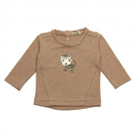 IMPS&ELFS T-shirt long-sleeved organic cotton girl grey pink