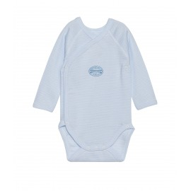 PETIT BATEAU Newborn baby long-sleeved bodysuit boy light blue