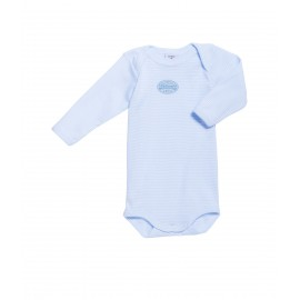PETIT BATEAU Romper long sleeves milleraies stripes light blue
