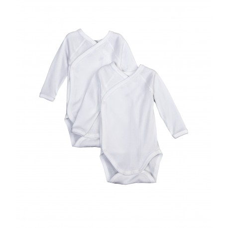 PETIT BATEAU Pack of 2 long sleeves rompers classic white