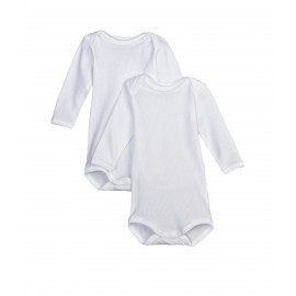 PETIT BATEAU Pack of 2 long sleeved bodysuits unisex white