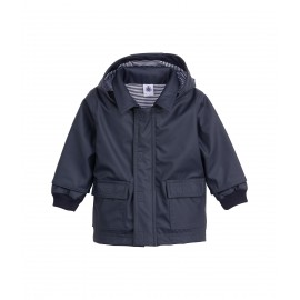 PETIT BATEAU Raincoat with hood unisex dark blue
