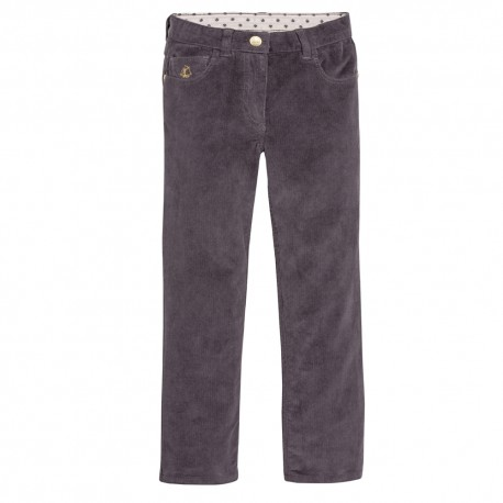PETIT BATEAU Trousers stretch corduroy slim fit girl anthracite