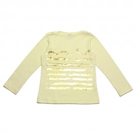 PETIT BATEAU T-shirt long-sleeved girl offwhite with gold print