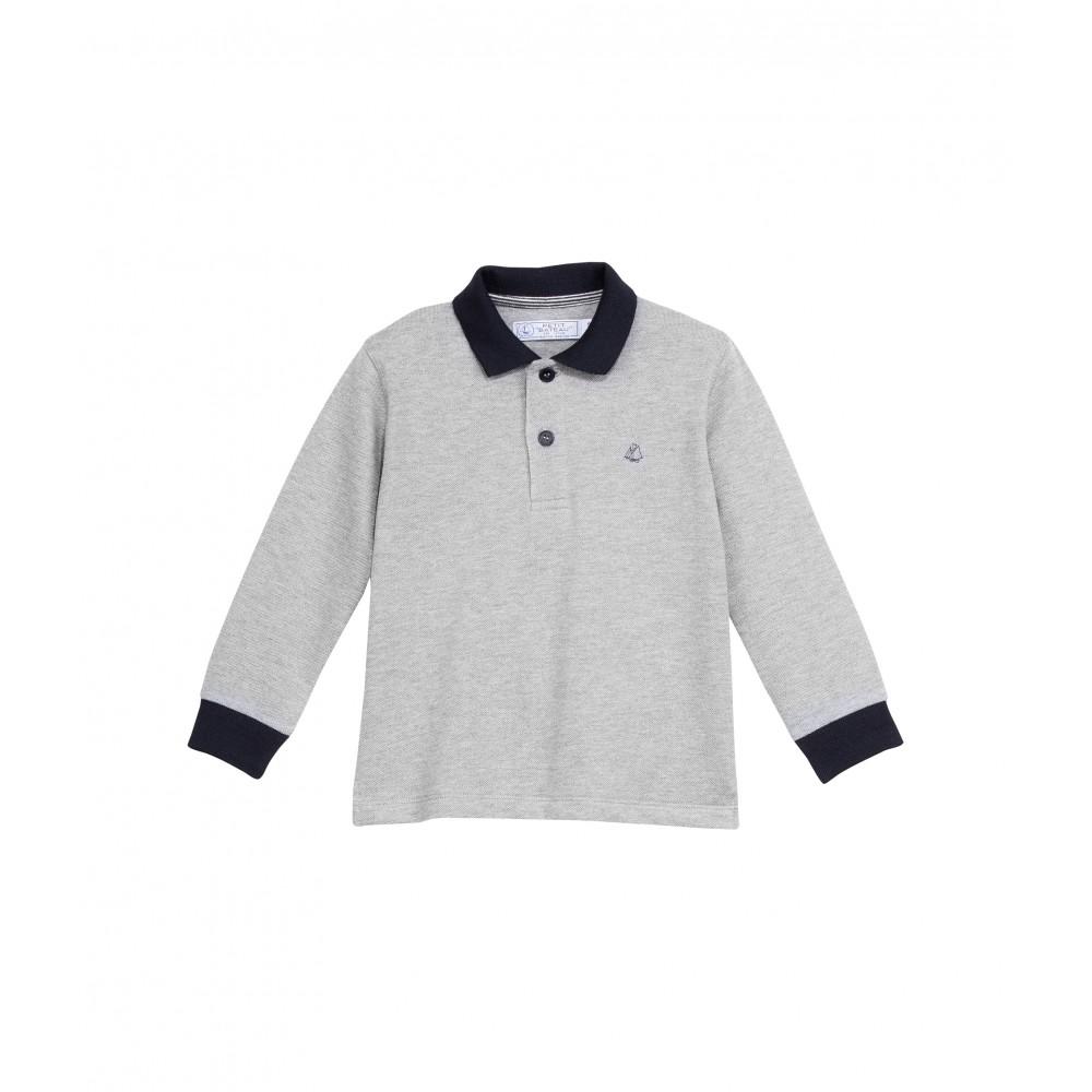 Petit bateau polo shirt boy long sleeved grey for Long sleeved polo shirts for boys