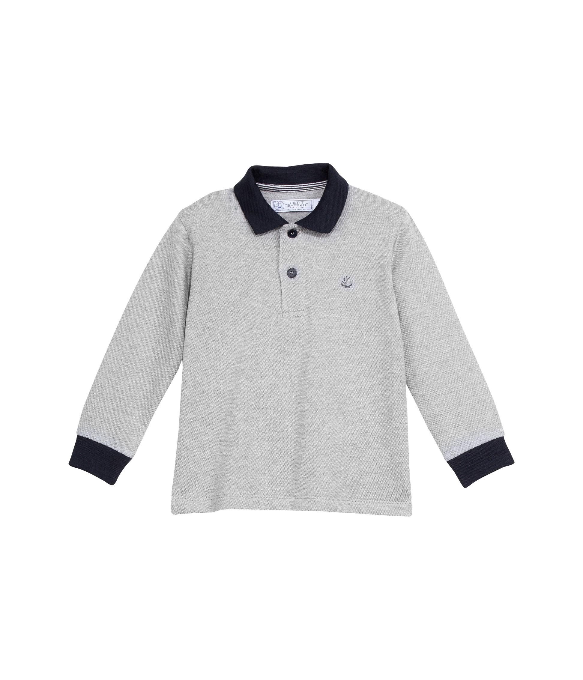 79ff54ba8b PETIT BATEAU Polo shirt boy long-sleeved grey