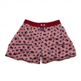 Mc ALSON Boxer short boy bordeaux with blue elephant print