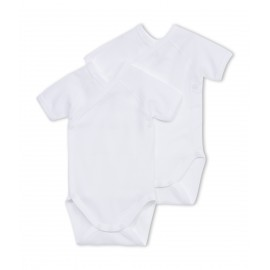 PETIT BATEAU Pack of 2 short-sleeved envelope neck bodysuits baby unisex white