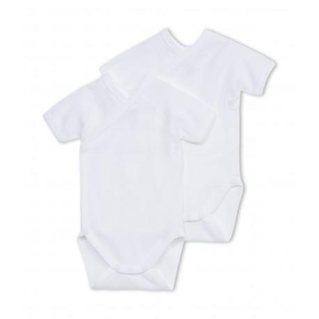 PETIT BATEAU Pack of 2 short-sleeved envelope neck bodysuits baby unisex white