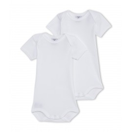 PETIT BATEAU Pack of 2 short-sleeved envelope neck bodysuits unisex baby white