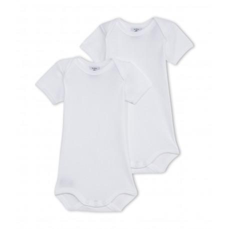 PETIT BATEAU Pack of 2 short-sleeved bodysuits baby unisex white
