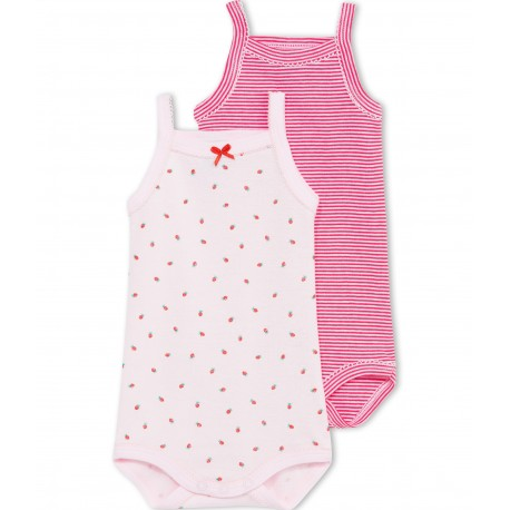 PETIT BATEAU Pack of 2 bodysuits with straps baby girl pink
