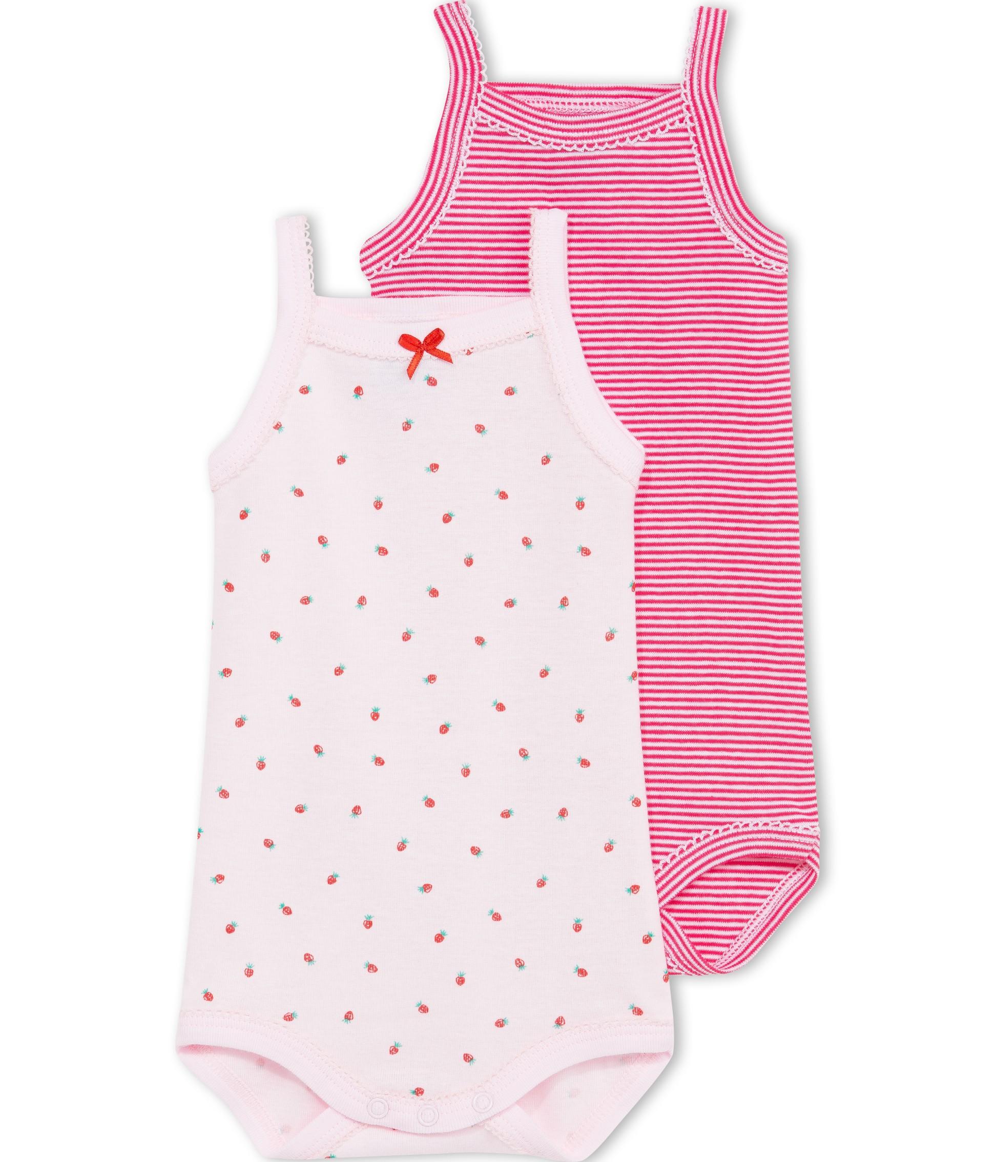 1456f11d475 PETIT BATEAU Lot de 2 bodies à bretelles bébé fille rose