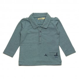 IMPS&ELFS Polo shirt long-sleeved organic cotton boy grey blue
