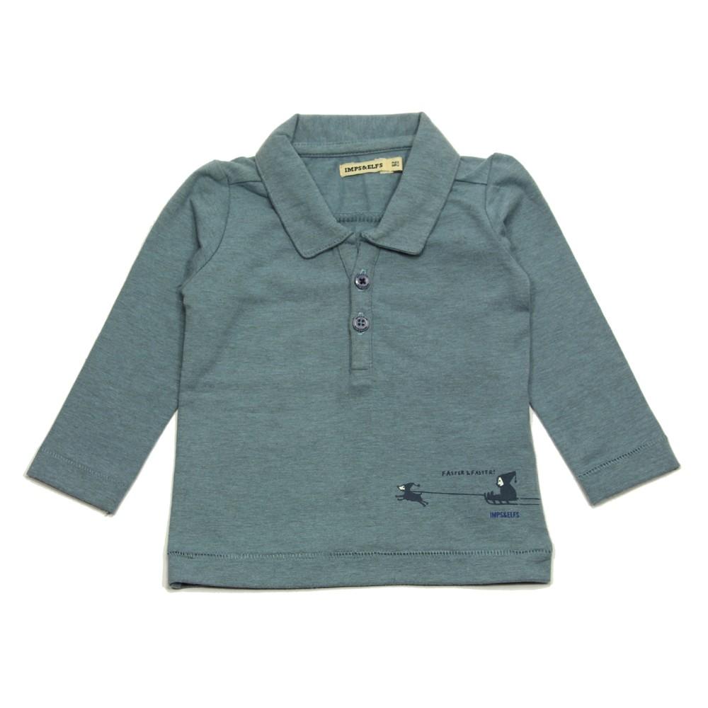 Imps elfs poloshirt long sleeved for boys in organic for Long sleeved polo shirts for boys