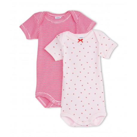 PETIT BATEAU Pack of 2 short-sleeved bodysuits baby girl pink