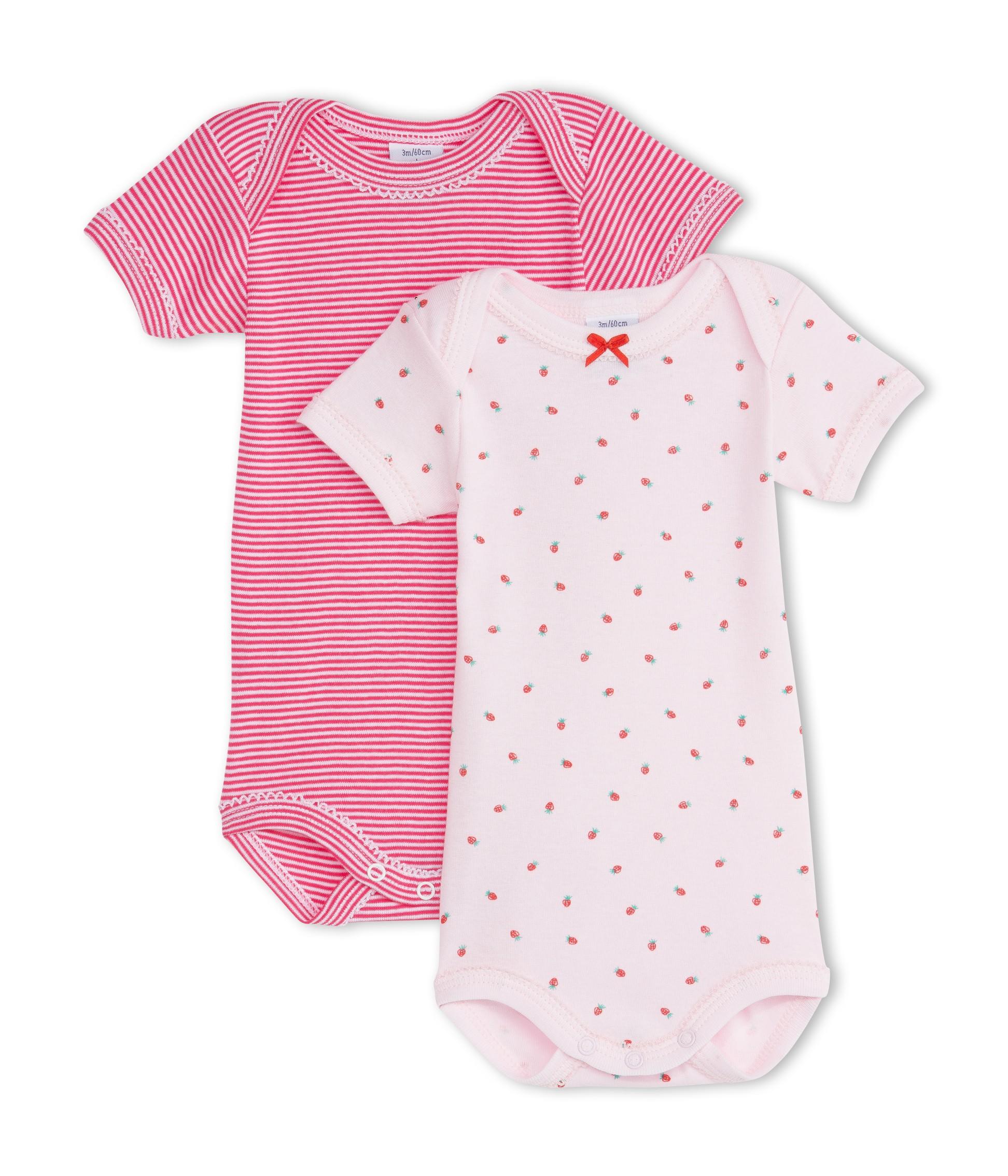 2ab9a8ea9a3 PETIT BATEAU Lot de 2 bodies à manches courtes bébé fille rose