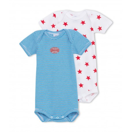 PETIT BATEAU Pack of 2 short-sleeved bodysuits baby boy blue stripes