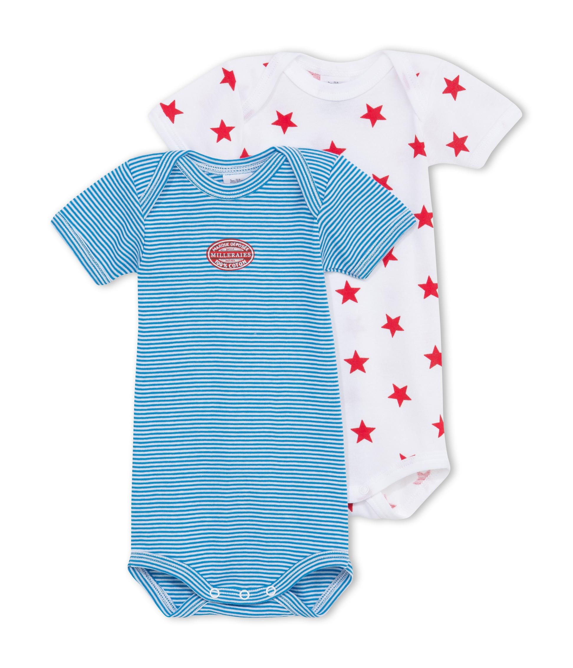 PETIT BATEAU 2 bodies US à manches courtes bébé garçon bleu milleraies d12d397656f