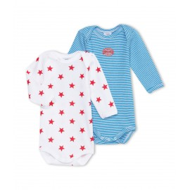 PETIT BATEAU Pack of 2 long-sleeved envelope neck bodysuits baby boy blue stripes